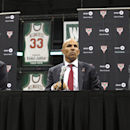 MILWAUKEE, WI - JULY 2: Jason Kidd (C) attends a press conference announcing him as the Head Coach of the Milwaukee Bucks at BMO Harris Bradley Center on July 2, 2014 in Milwaukee, Wisconsin. (Photo by Mike McGinnis/Getty Images)