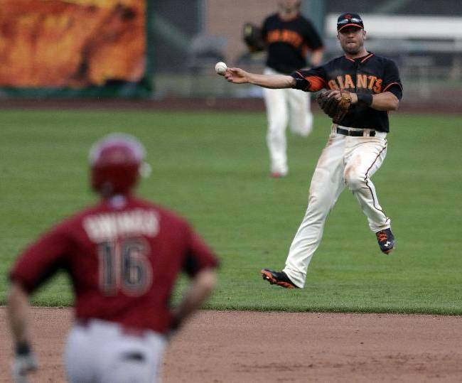 San Francisco Giants shortstop Brandon Hicks, right, makes the throw to first in time to get the out on Arizona Diamondbacks' Chris Owings, left, during the ninth inning of a spring exhibition baseball game on Sunday, March 2, 2014, in Scottsdale, Ariz