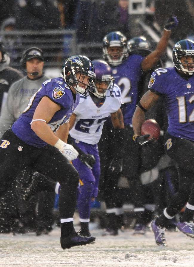 Baltimore Ravens wide receiver Jacoby Jones (12) returns a kickoff for a touchdown in the second half of an NFL football game against the Minnesota Vikings, Sunday, Dec. 8, 2013, in Baltimore