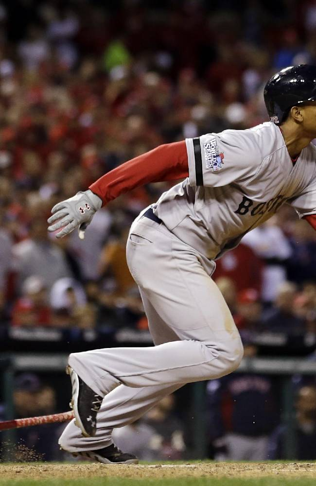 Boston Red Sox's Xander Bogaerts hits an RBI single during the eighth inning of Game 3 of baseball's World Series against the St. Louis Cardinals Saturday, Oct. 26, 2013, in St. Louis