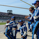 Crew members for Dale Earnhardt Jr. (88) celebrate their win in the Talladega 500 NASCAR Sprint Cup Series auto race at Talladega Superspeedway, Sunday, May 3, 2015, in Talladega, Ala. (AP Photo/David Tulis)