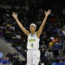 Notre Dame guard Skylar Diggins celebrates a teammate's 3-point basket during the second half of the regional final of the NCAA women's college basketball tournament Tuesday, April 2, 2013, in Norfolk, Va. Notre Dame won 87-76. (AP Photo/Steve Helber)