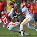 Kansas City Chiefs receiver Donnie Avery (17) tries to bring in a pass during practice Monday morning, Aug. 11, 2014, on the Missouri Western State University campus in St. Joseph. Mo The Associated Press