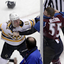 Boston Bruins center Gregory Campbell (11) fights Colorado Avalanche left wing Cody McLeod (55) the first period of an NHL hockey game in Denver on Friday, March 21, 2014 The Associated Press