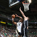 SALT LAKE CITY, UT - MARCH 30: Randy Foye #8 of the Utah Jazz shoots over Brook Lopez #11 of the Brooklyn Nets at Energy Solutions Arena on March 30, 2013 in Salt Lake City, Utah. (Photo by Melissa Majchrzak/NBAE via Getty Images)