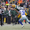 Green Bay Packers wide receiver Jordy Nelson misses a catch against Dallas Cowboys cornerback Brandon Carr (39) during the second half of an NFL divisional playoff football game Sunday, Jan. 11, 2015, in Green Bay, Wis The Associated Press