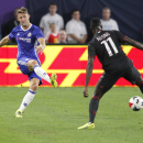IMAGE DISTRIBUTED FOR INTERNATIONAL CHAMPIONS CUP - Gary Cahill, left, passes the ball up the pitch during the International Champions Cup soccer match between Chelsea FC and AC Milan on Wednesday, Aug. 3, 2016 at US Bank Stadium in Minneapolis. (Andy Cla