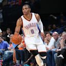 OKLAHOMA CITY, OK - OCTOBER 14: Russell Westbrook #0 of the Oklahoma City Thunder handles the ball against the Memphis Grizzlies at the Chesapeake Energy Arena on October 14, 2014 in Oklahoma City, Oklahoma. (Photo by Layne Murdoch/NBAE via Getty Images)