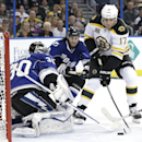 Boston Bruins left wing Milan Lucic (17) shoots against Tampa Bay Lightning goalie Ben Bishop (30) during the first period of an NHL hockey game on Saturday, March 8, 2014, in Tampa, Fla. Tampa Bay defenseman Mark Barberio also defends The Associated Pres