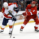 Detroit Red Wings defenseman Brendan Smith (2) defends Florida Panthers center Nick Bjugstad (27) in the first period during an NHL hockey game in Detroit Tuesday, Dec. 2, 2014 The Associated Press