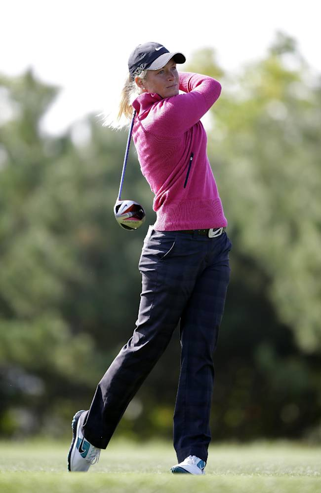 Suzann Pettersen of Norway watches her shot on the second hole during the final round of the KEB Hana Bank Championship golf tournament at Sky72 Golf Club in Incheon, west of Seoul, South Korea, Sunday, Oct. 20, 2013