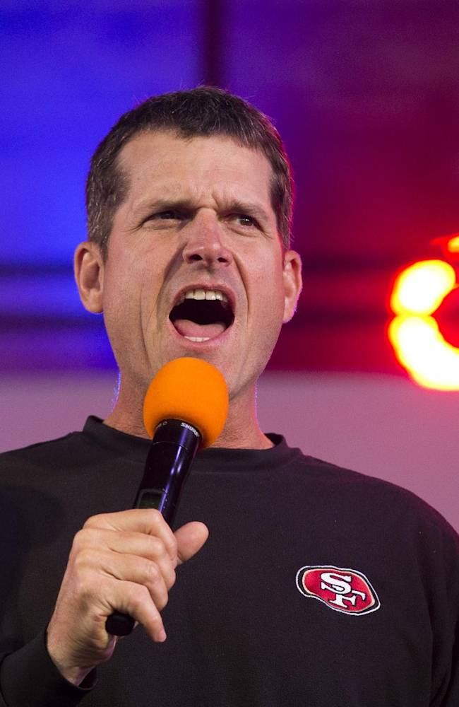 Harbaugh happy with 49ers at season's midpoint