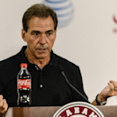 Alabama NCAA college football head coach Nick Saban talks with the media, Monday, Sept. 1, 2014, in Tuscaloosa, Ala. (AP Photo/Alabama Media Group, Vasha Hunt)