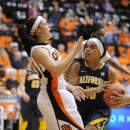 California's Brittany Boyd (15) drives against Oregon State's Mollee Schwegler (30) during the first half of an NCAA college basketball game in Corvallis, Ore., Friday, Feb. 1, 2013. (AP Photo/Greg Wahl-Stephens)