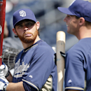 San Diego Padres starting pitcher Ian Kennedy, left, entertains fellow pitcher Robbie Erlin with a contorted face during warmups for a baseball game against the San Francisco Giants, Saturday, April 19, 2014, in San Diego The Associated Press