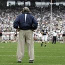 FILE - In this Sept. 6, 2008 file photo, Penn State coach Joe Paterno surveys the field before an NCAA college football game against Oregon State at Beaver Stadium in State College, Pa. NCAA president Mark Emmert says he isn't ruling out the possibility of shutting down the Penn State football program in the wake of the Jerry Sandusky child sex abuse scandal. In a PBS interview Monday night, July 16, 2012, he said he doesn't want to