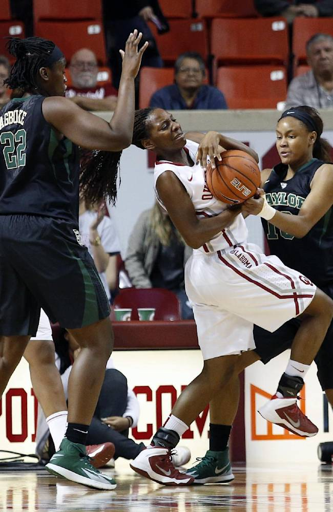 Oklahoma's Sharane Campbell (24) fights for a ball with Baylor's Nina Davis (13) during the first half of an NCAA college basketball game in Norman, Okla., Feb. 3, 2014