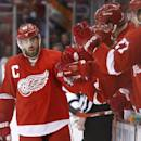 Detroit Red Wings' Henrik Zetterberg (40), of Sweden, celebrates his goal against the Pittsburgh Penguins in the third period of an NHL hockey game in Detroit, Thursday, Oct. 23, 2014. (AP Photo/Paul Sancya)