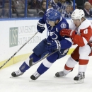 Tampa Bay Lightning defenseman Matt Carle (25) controls the puck against Detroit Red Wings left wing Justin Abdelkader (8) during the first period of an NHL hockey game Thursday, Dec. 12, 2013, in Tampa, Fla The Associated Press