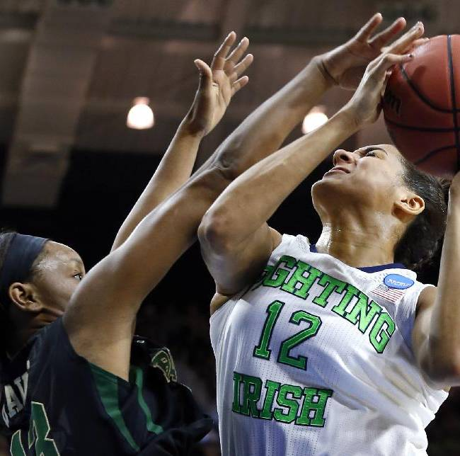 Baylor forward Nina Davis (13) defends Notre Dame forward Taya Reimer (12) in the first half of their NCAA women's college basketball tournament regional final game at the Purcell Pavilion in South Bend, Ind., Monday, March 31, 2014