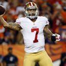 San Francisco 49ers quarterback Colin Kaepernick (7) looks to pass against the Denver Broncos during the first half of an NFL football game, Sunday, Oct. 19, 2014, in Denver The Associated Press