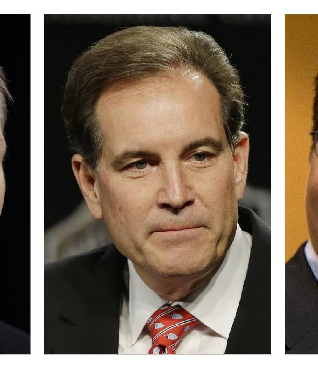 These are file photos showing, from left, Phil Simms, Jim Nantz, and Washington Redskins NFL football team owner Daniel Snyder. CBS lead analyst Phil Simms is considering referring to the Redskins only as