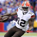 FILE - In this Nov. 30, 2014, file photo, Cleveland Browns wide receiver Josh Gordon carries the ball after a reception against the Buffalo Bills during the first half of an NFL football game in Orchard Park, N.Y. The Browns say they are disappointed about a report that troubled wide receiver Gordon has failed another drug test and could be facing a one-year NFL ban. Gordon was suspended for 10 games last season for another violation of the league's drug policy. He appeared in just five games and was suspended by the Browns for violating team rules before the season finale. (AP Photo/Bill Wippert, File)