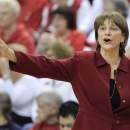 Nebraska coach Connie Yori calls instructions in the first half of an NCAA college basketball game against Penn State in Lincoln, Neb., Sunday, March 3, 2013. Penn State won 82-67. (AP Photo/Nati Harnik)