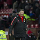 Manchester United's manager Louis van Gaal smiles as he walks from the pitch after his team's 3-1 win during the English Premier League soccer match between Manchester United and Leicester at Old Trafford Stadium, Manchester, England, Saturday Jan. 31, 20