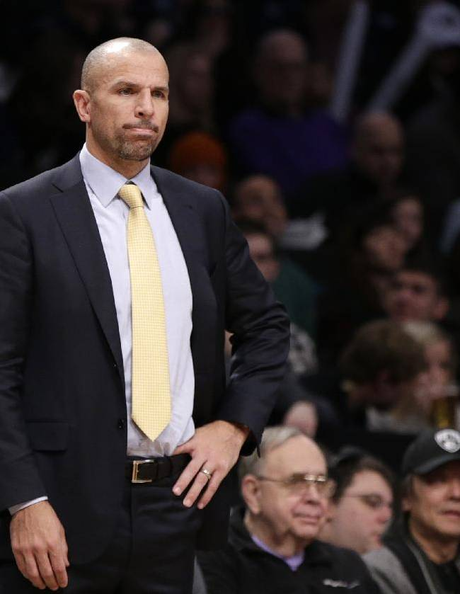 Brooklyn Nets head coach Jason Kidd reacts in the in the second half of an NBA basketball game against the Detroit Pistons, Sunday, Nov. 24, 2013, in New York. The Pistons won 109-97
