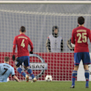 Manchester City's James Milner, left, scores the second goal during the Champions League Group E soccer match between CSKA Moscow and Manchester City at Arena Khimki stadium in Moscow, Russia, Tuesday Oct. 21, 2014