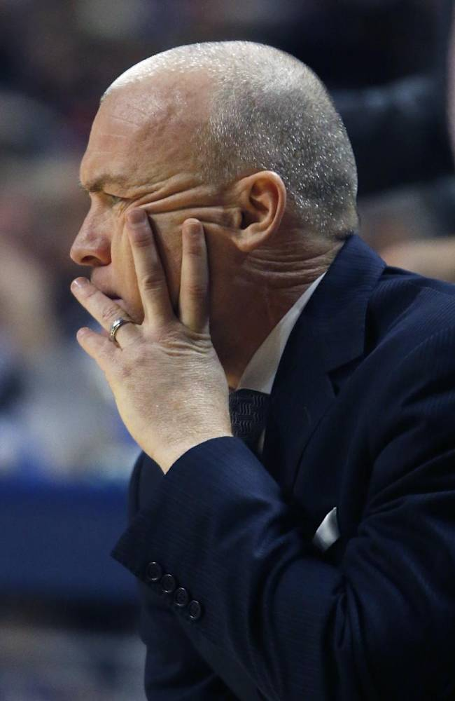 Penn State head coach Pat Chambers watches during the first half of an NCAA college basketball game against Iowa on Saturday, Feb. 15, 2014, in State College. Iowa won 82-70