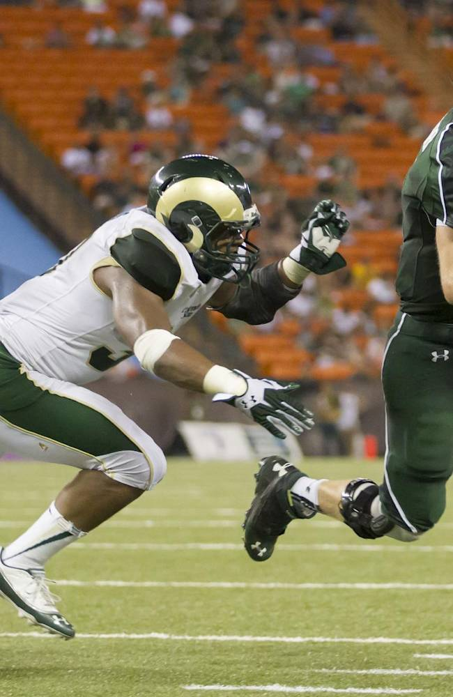 Colorado State linebacker Aaron Davis (37) attempts to chase down Hawaii quarterback Sean Schroeder (19) as he runs in for a touchdown late in the fourth quarter of an NCAA college football game Saturday, Oct. 26, 2013, in Honolulu. Colorado State defeated Hawaii 35-28