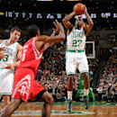 BOSTON, MA - JANUARY 13: Jordan Crawford #27 of the Boston Celtics shoots the ball against the Houston Rockets on January 13, 2014 at the TD Garden in Boston, Massachusetts. (Photo by Brian Babineau/NBAE via Getty Images)