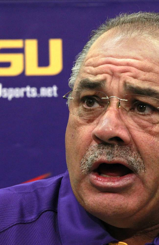 In this Aug. 7, 2012, file photo, LSU defensive coordinator John Chavis talks during an NCAA college football media day in Baton Rouge. Chavis is trying to figure out fast which of more than a half-dozen true freshman will be able to handle crunch-time responsibilities when the Tigers enter the heart of their Southeastern Conference slate