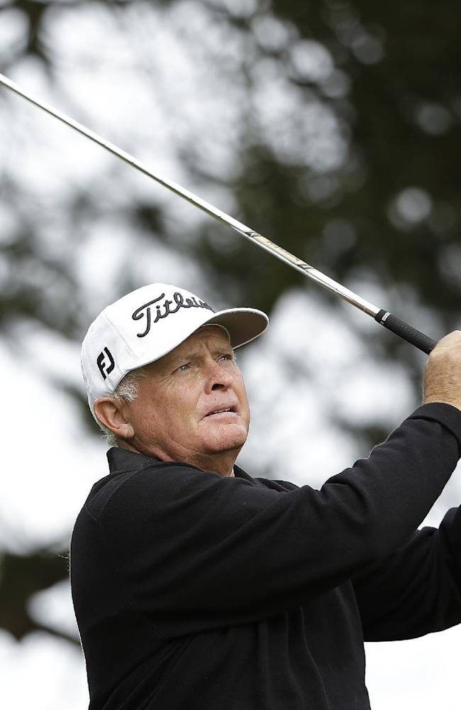 Peter Senior, of Australia, follows his shot from the third tee during the final round of the Charles Schwab Cup Championship Champions Tour golf tournament Sunday, Nov. 3, 2013, in San Francisco. Senior finished tied for second place