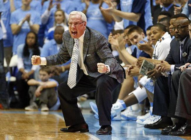North Carolina head coach Roy Williams protests a call during the second half of an NCAA college basketball game against the Pittsburgh in Chapel Hill, N.C., Saturday, Feb. 15, 2014. North Carolina won 75-71
