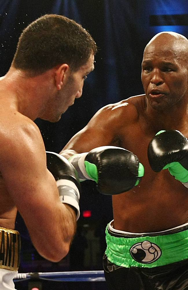 Bernard Hopkins, right, of Philadelphia, PA and Karo Murat of Germany exchange punches during the third round of IBF Light Heavyweight Title in Atlantic City, N.J. on Saturday, Oct. 26, 2013. Hopkins won by unanimous decision after 12 rounds