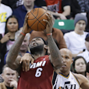 Utah Jazz's Richard Jefferson (24) fouls Miami Heat's LeBron James (6) during the second half of an NBA basketball game Saturday, Feb. 8, 2014, in Salt Lake City. The Jazz won 94-89 The Associated Press