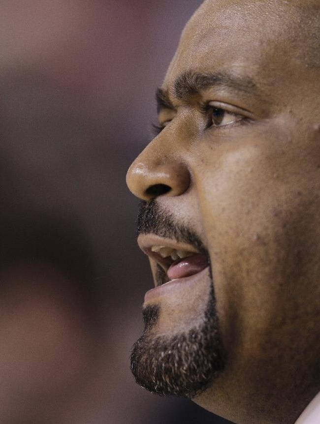 In this March 11, 2010, file photo, Miami's Frank Haith watches from the bench during an NCAA college basketball game against Wake Forest in the Atlantic Coast Conference tournament in Greensboro, N.C. Missouri men's basketball coach Haith faces a 5-game suspension after the NCAA found he failed to monitor his former assistants' interactions with a disgraced Miami booster. The NCAA released the findings of its investigation into convicted felon Nevin Shapiro's relationship with Miami athletics on Tuesday, Oct. 22, 2013. It found that then-Miami coach Haith and an assistant coach provided Shapiro $10,000 after he threatened to expose previous improper contact with high school recruits and amateur coaches