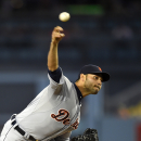 Detroit Tigers starting pitcher Anibal Sanchez throws to the plate during the first inning of a baseball game against the Detroit Tigers, Wednesday, April 9, 2014, in Los Angeles The Associated Press