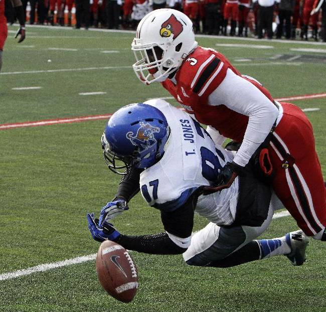 Memphis wide receiver Tevon Jones (87) cannot hang on to a pass as Louisville's Charles Gaines (3) defends during the second half of an NCAA college football game in Louisville, Ky., Saturday, Nov. 23, 2013