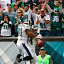 Philadelphia Eagles' Riley Cooper, right, and Jordan Matthews celebrate after Copper's touchdown during the first half of an NFL football game against the St. Louis Rams, Sunday, Oct. 5, 2014, in Philadelphia The Associated Press