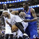 Brooklyn Nets' Paul Pierce (34) steals the ball from Philadelphia 76ers' Jarvis Varnado from during the first half of an NBA basketball game on Saturday, April 5, 2014, in Philadelphia The Associated Press