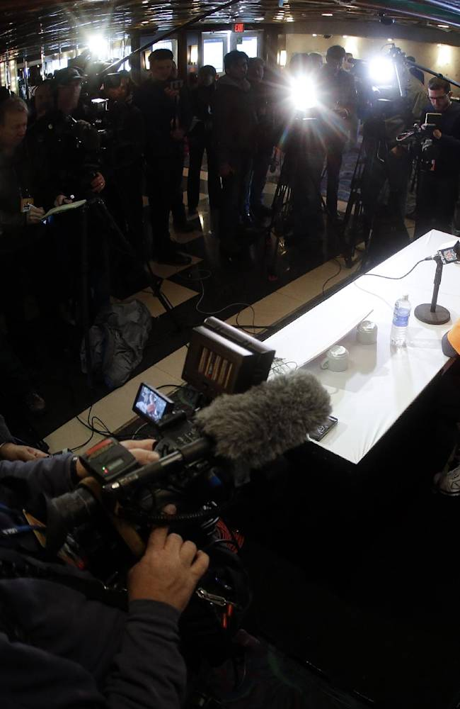Denver Broncos quarterback Peyton Manning (18) talks with reporters during a news conference Wednesday, Jan. 29, 2014, in Jersey City, N.J. The Broncos are scheduled to play the Seattle Seahawks in the NFL Super Bowl XLVIII football game Sunday, Feb. 2, in East Rutherford, N.J