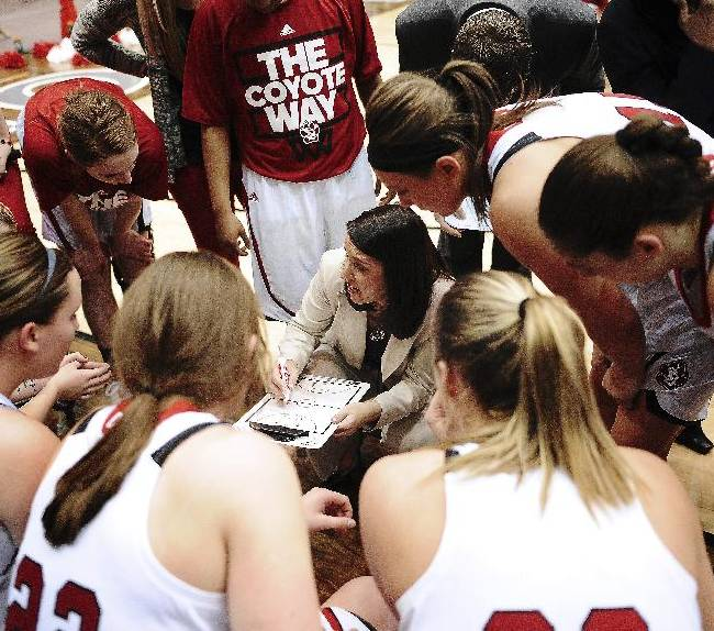South Dakota coach Amy Williams talks with her team during a timeout during the first half against Denver during an NCAA college basketball game for the championship of the Summit League women's tournament Tuesday, March 11, 2014, in Sioux Falls, S.D. South Dakota won 82-71