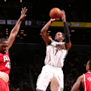 NEW YORK, NY - JANUARY 06: Joe Johnson #7 of the Brooklyn Nets shoots against Elton Brand #42 of the Atlanta Hawks during a game at the Barclays Center on January 6, 2014 in the Brooklyn borough of New York City. (Photo by Nathaniel S. Butler/NBAE via Getty Images)