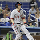 Washington Nationals' Nate McLouth reacts after he struck out swinging in the eighth inning during a baseball game against the Miami Marlins, Tuesday, July 29, 2014, in Miami. The Marlins defeated the Nationals 3-0 The Associated Press