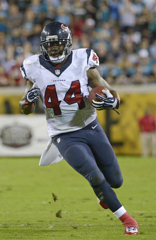 Houston Texans running back Ben Tate (44) looks to run against the Jacksonville Jaguars during the first half of an NFL football game in Jacksonville, Fla., Thursday, Dec. 5, 2013