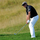 Aug 14, 2015; Sheboygan, WI, USA;  Darren Clarke chips from the rough on the 11th hole during the second round of the 2015 PGA Championship golf tournament at Whistling Straits. Mandatory Credit: Thomas J. Russo-USA TODAY Sports - RTX1O9TG